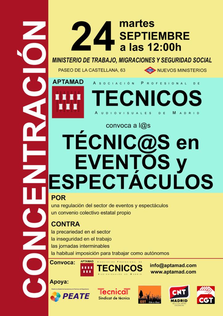 """Cartel de la concentración del 24S """"Por la regularización del sector de eventos y espectáculos""""."""